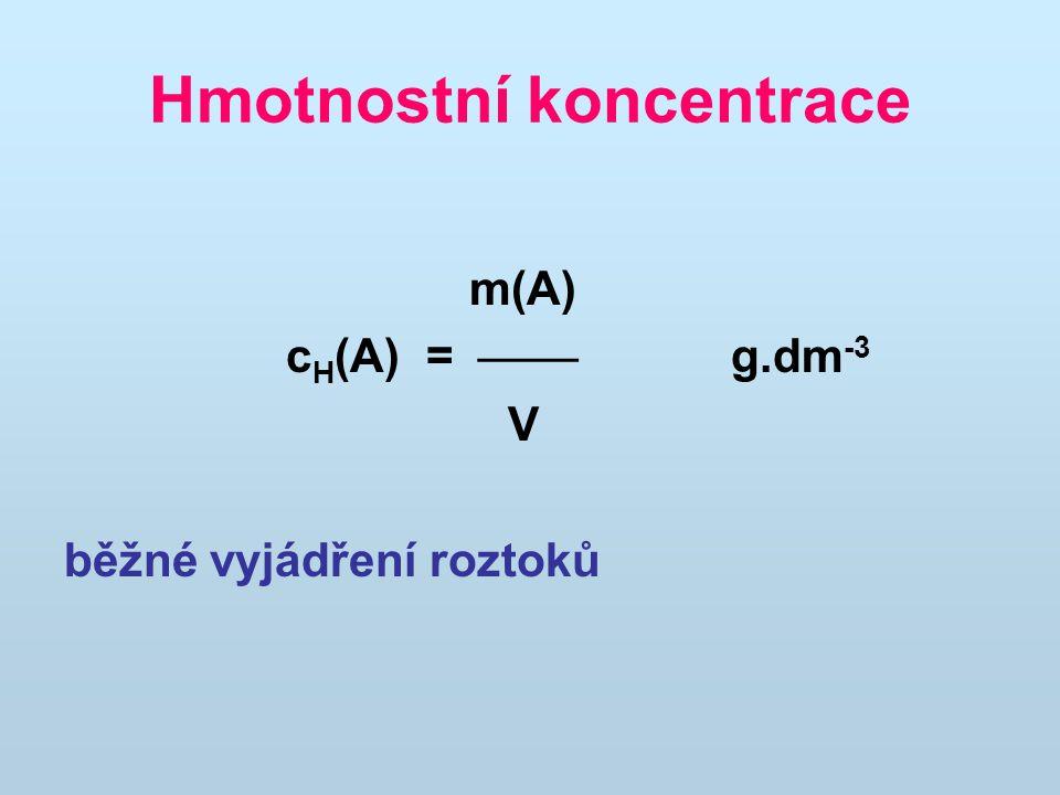 Hmotnostní koncentrace m(A) c H (A) =  g.dm -3 V běžné vyjádření roztoků