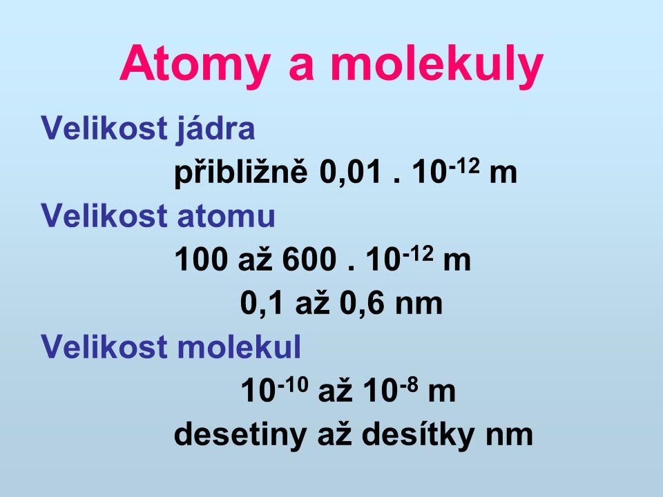 Atomy a molekuly Velikost jádra přibližně 0,01. 10 -12 m Velikost atomu 100 až 600. 10 -12 m 0,1 až 0,6 nm Velikost molekul 10 -10 až 10 -8 m desetiny