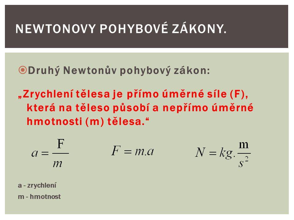 """ Druhý Newtonův pohybový zákon: """"Zrychlení tělesa je přímo úměrné síle (F), která na těleso působí a nepřímo úměrné hmotnosti (m) tělesa. a - zrychlení m - hmotnost NEWTONOVY POHYBOVÉ ZÁKONY."""