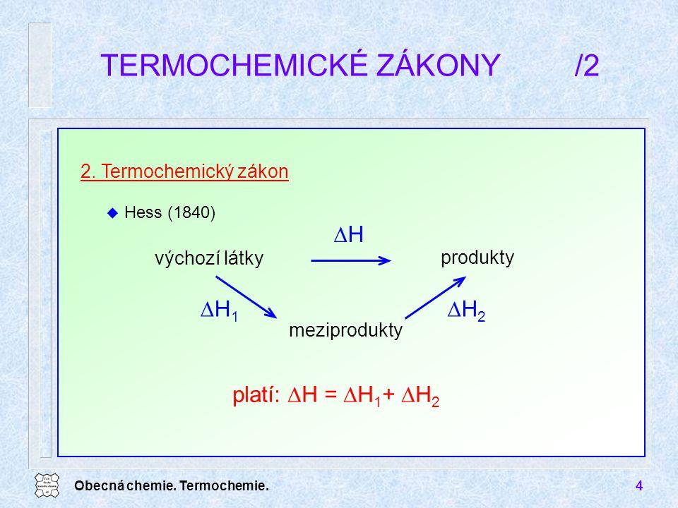 Obecná chemie. Termochemie.4 TERMOCHEMICKÉ ZÁKONY/2 2. Termochemický zákon u Hess (1840) platí:  H =  H 1 +  H 2 HH výchozí látky produkty mezipr