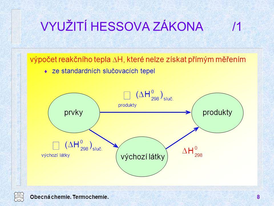 Obecná chemie. Termochemie.8 výpočet reakčního tepla  H, které nelze získat přímým měřením  ze standardních slučovacích tepel VYUŽITÍ HESSOVA ZÁKONA