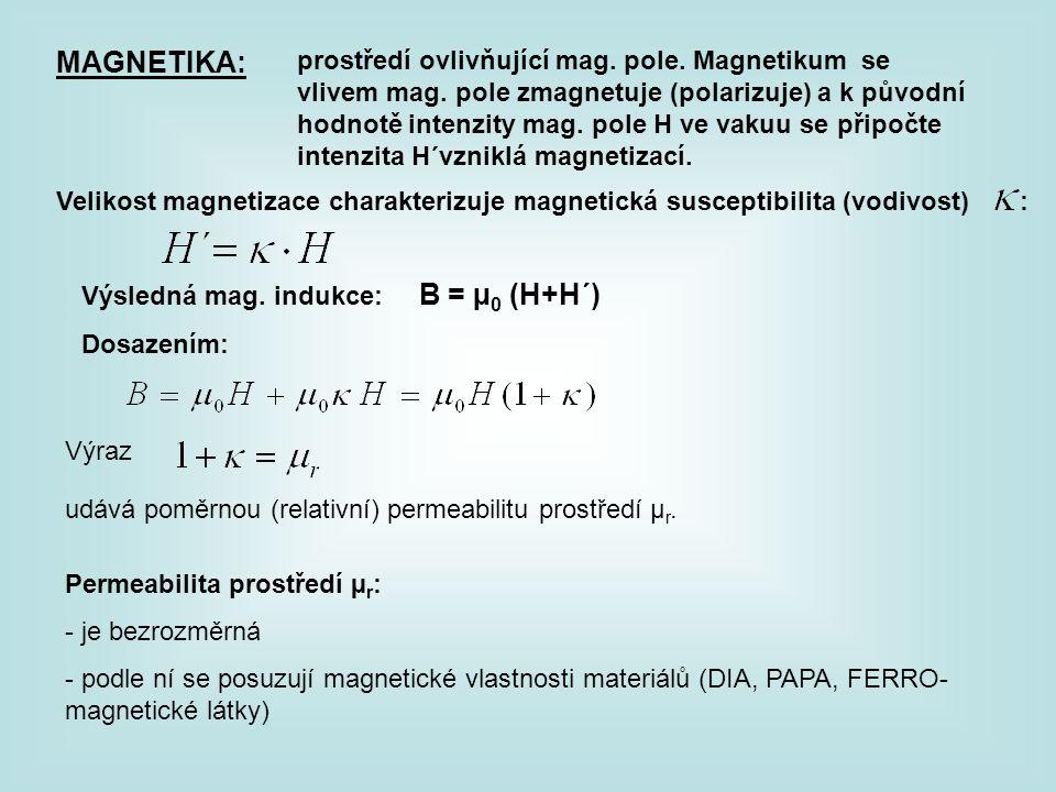 MAGNETIKA: prostředí ovlivňující mag. pole. Magnetikum se vlivem mag. pole zmagnetuje (polarizuje) a k původní hodnotě intenzity mag. pole H ve vakuu