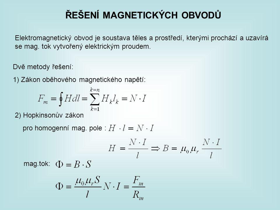 ŘEŠENÍ MAGNETICKÝCH OBVODŮ Elektromagnetický obvod je soustava těles a prostředí, kterými prochází a uzavírá se mag. tok vytvořený elektrickým proudem