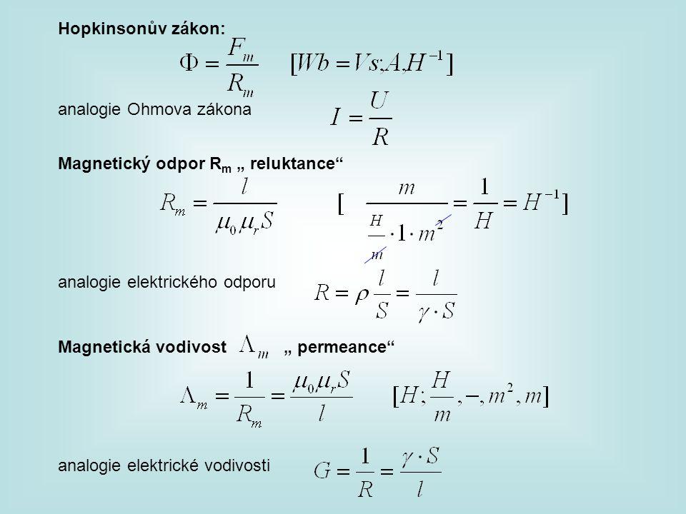 """Hopkinsonův zákon: analogie Ohmova zákona Magnetický odpor R m """" reluktance"""" analogie elektrického odporu Magnetická vodivost """" permeance"""" analogie el"""