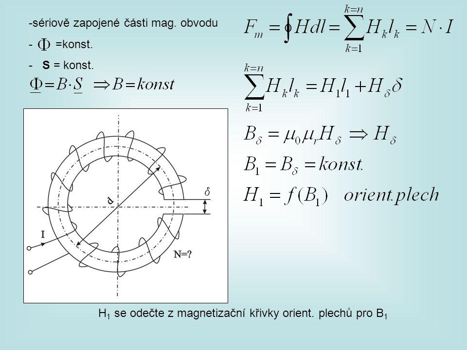 -sériově zapojené části mag. obvodu - =konst. - S = konst. H 1 se odečte z magnetizační křivky orient. plechů pro B 1
