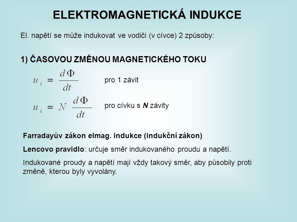ELEKTROMAGNETICKÁ INDUKCE El. napětí se může indukovat ve vodiči (v cívce) 2 způsoby: 1) ČASOVOU ZMĚNOU MAGNETICKÉHO TOKU pro 1 závit pro cívku s N zá