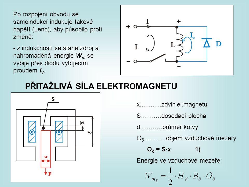 Po rozpojení obvodu se samoindukcí indukuje takové napětí (Lenc), aby působilo proti změně: - z indukčnosti se stane zdroj a nahromaděná energie W m se vybije přes diodu vybíjecím proudem I v.