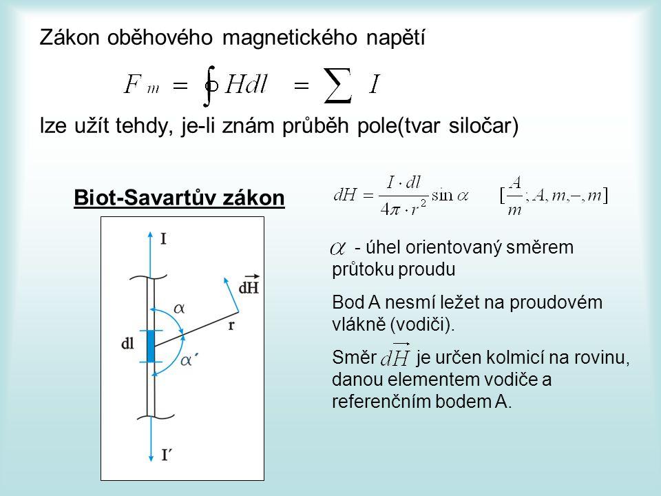 Zákon oběhového magnetického napětí lze užít tehdy, je-li znám průběh pole(tvar siločar) Biot-Savartův zákon - úhel orientovaný směrem průtoku proudu