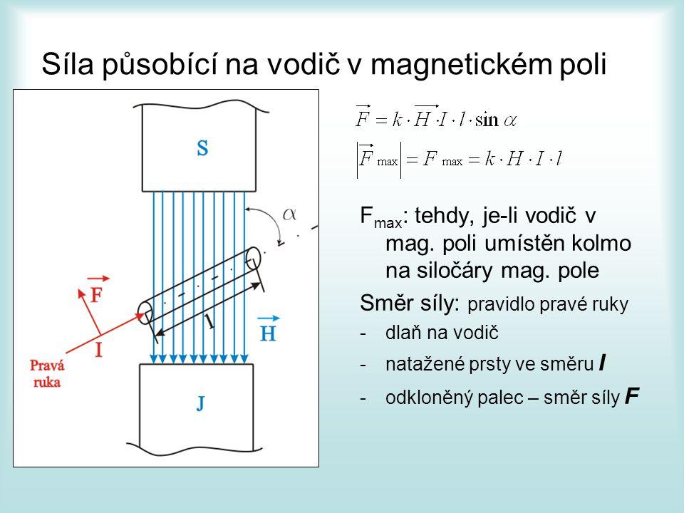 Ampérův zákon Vodič 1 je protékán I 1 a vytváří ve vzdálenosti a intenzitu mag.