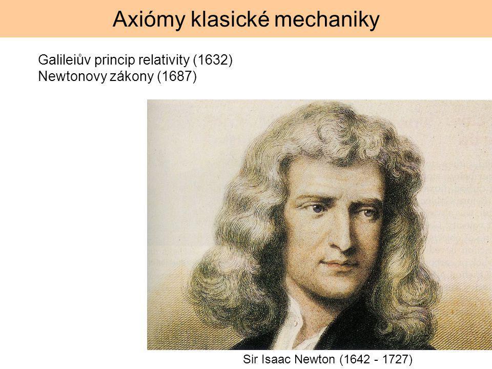 Axiómy klasické mechaniky Galileiův princip relativity (1632) Newtonovy zákony (1687) Sir Isaac Newton (1642 - 1727)
