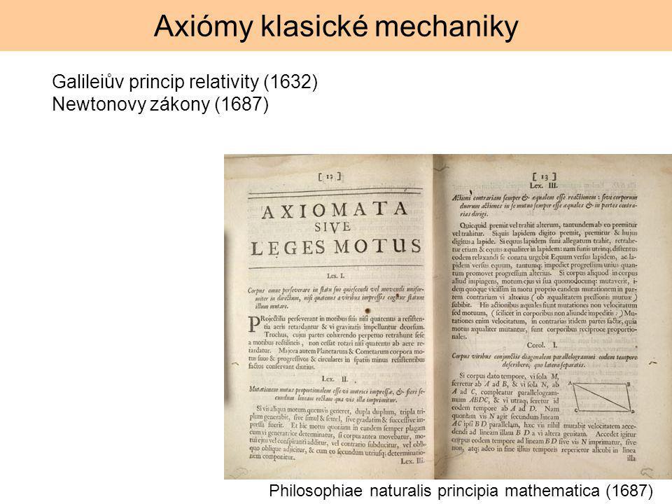 Axiómy klasické mechaniky Philosophiae naturalis principia mathematica (1687) Galileiův princip relativity (1632) Newtonovy zákony (1687)