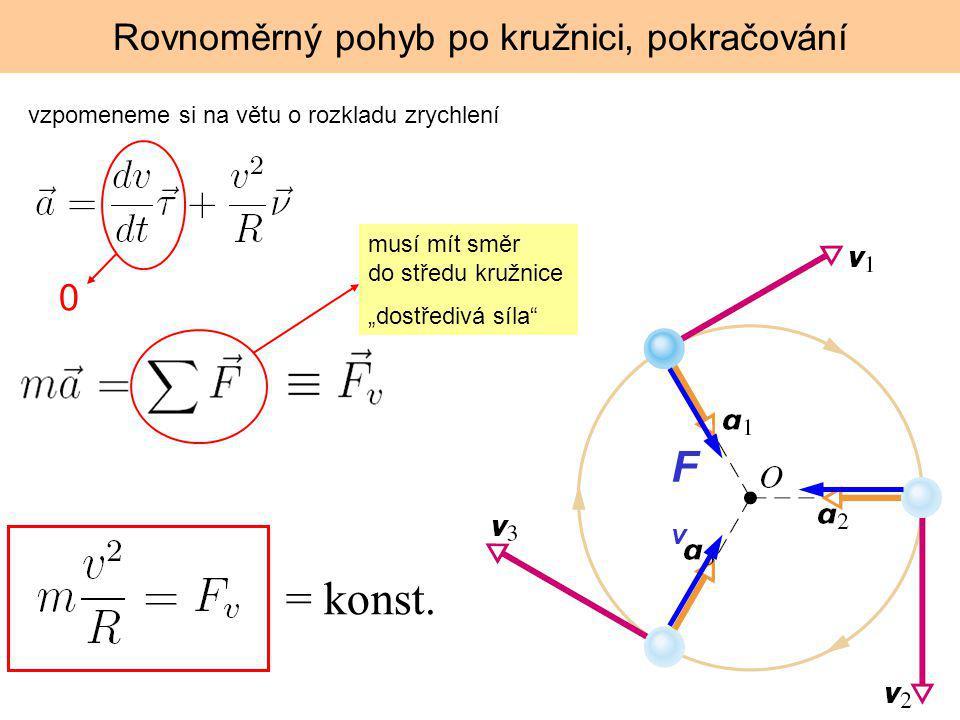 """Rovnoměrný pohyb po kružnici, pokračování vzpomeneme si na větu o rozkladu zrychlení 0 musí mít směr do středu kružnice """"dostředivá síla"""" FvFv = konst"""