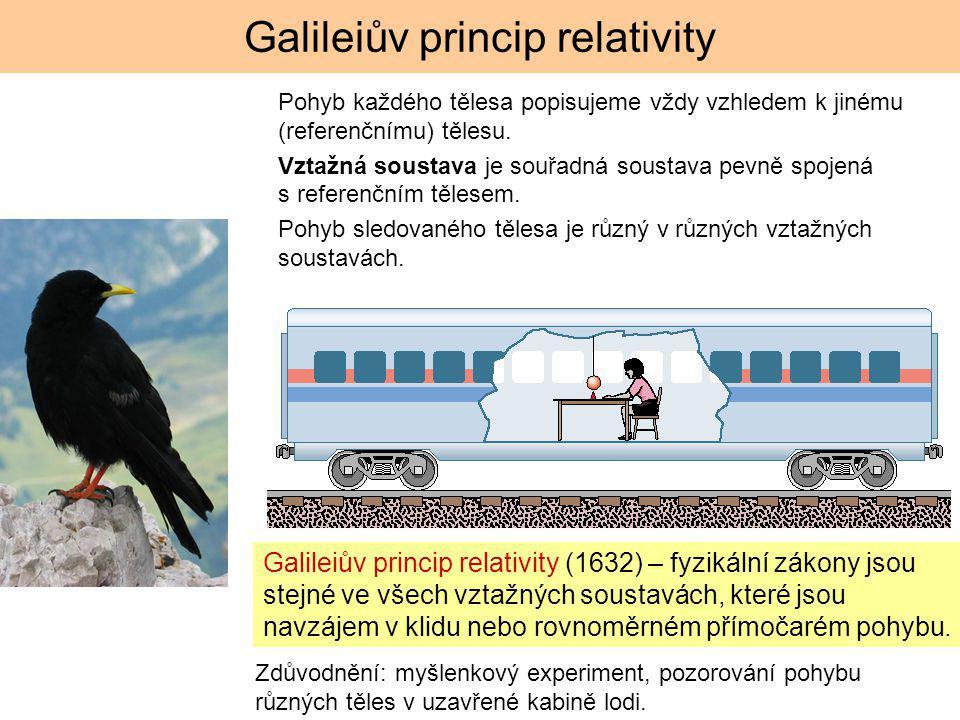 Galileiův princip relativity Galileiův princip relativity (1632) – fyzikální zákony jsou stejné ve všech vztažných soustavách, které jsou navzájem v klidu nebo rovnoměrném přímočarém pohybu.