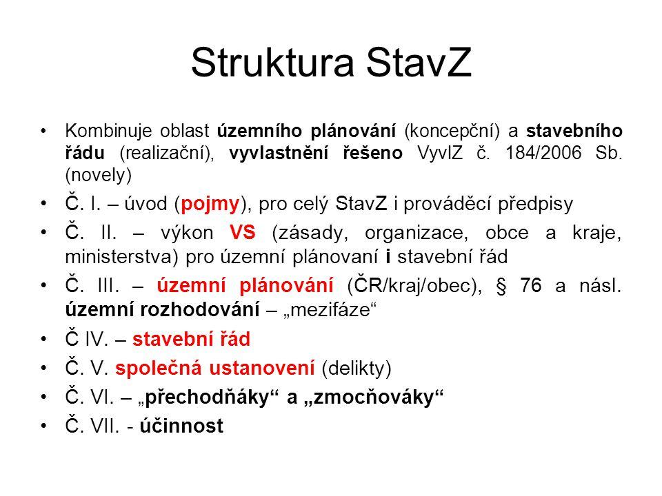 Struktura StavZ Kombinuje oblast územního plánování (koncepční) a stavebního řádu (realizační), vyvlastnění řešeno VyvlZ č.