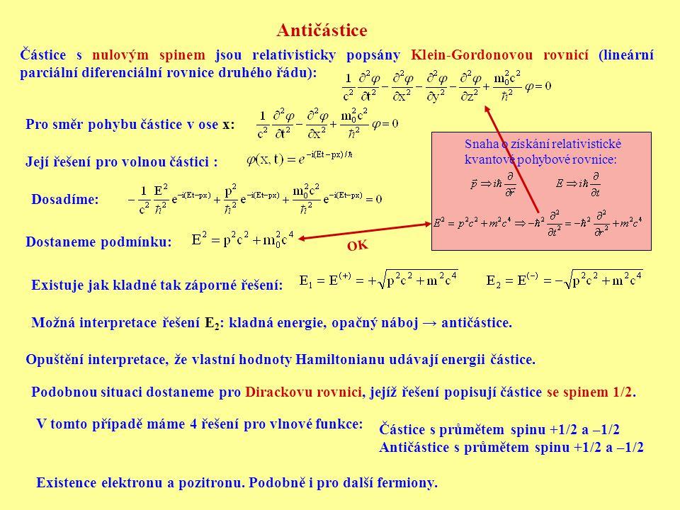 Antičástice Částice s nulovým spinem jsou relativisticky popsány Klein-Gordonovou rovnicí (lineární parciální diferenciální rovnice druhého řádu): Pro