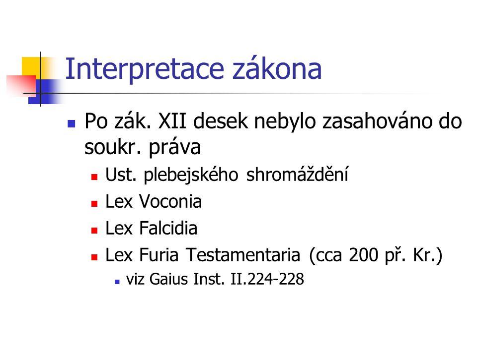 Interpretace zákona Po zák. XII desek nebylo zasahováno do soukr. práva Ust. plebejského shromáždění Lex Voconia Lex Falcidia Lex Furia Testamentaria