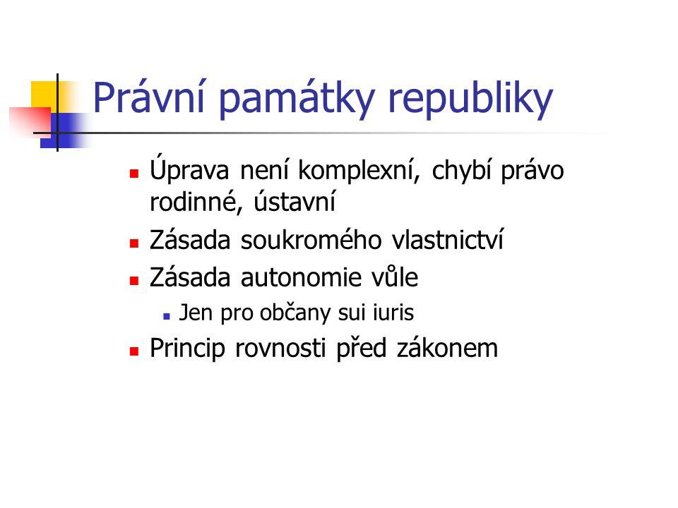 Právní památky republiky Úprava není komplexní, chybí právo rodinné, ústavní Zásada soukromého vlastnictví Zásada autonomie vůle Jen pro občany sui iu