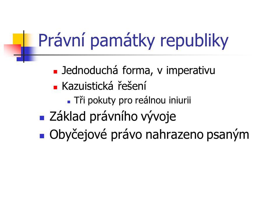 Právní památky republiky Jednoduchá forma, v imperativu Kazuistická řešení Tři pokuty pro reálnou iniurii Základ právního vývoje Obyčejové právo nahra