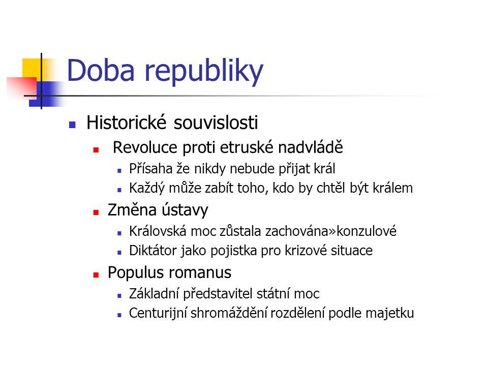 Doba republiky Historické souvislosti Revoluce proti etruské nadvládě Přísaha že nikdy nebude přijat král Každý může zabít toho, kdo by chtěl být král