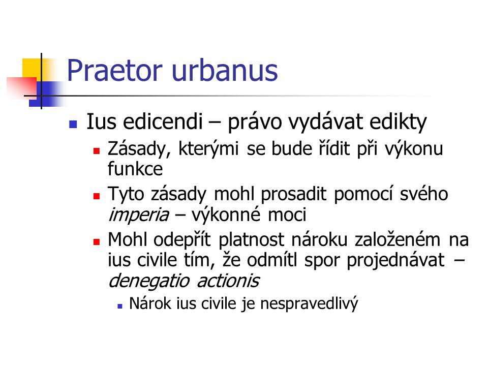 Praetor urbanus Ius edicendi – právo vydávat edikty Zásady, kterými se bude řídit při výkonu funkce Tyto zásady mohl prosadit pomocí svého imperia – v