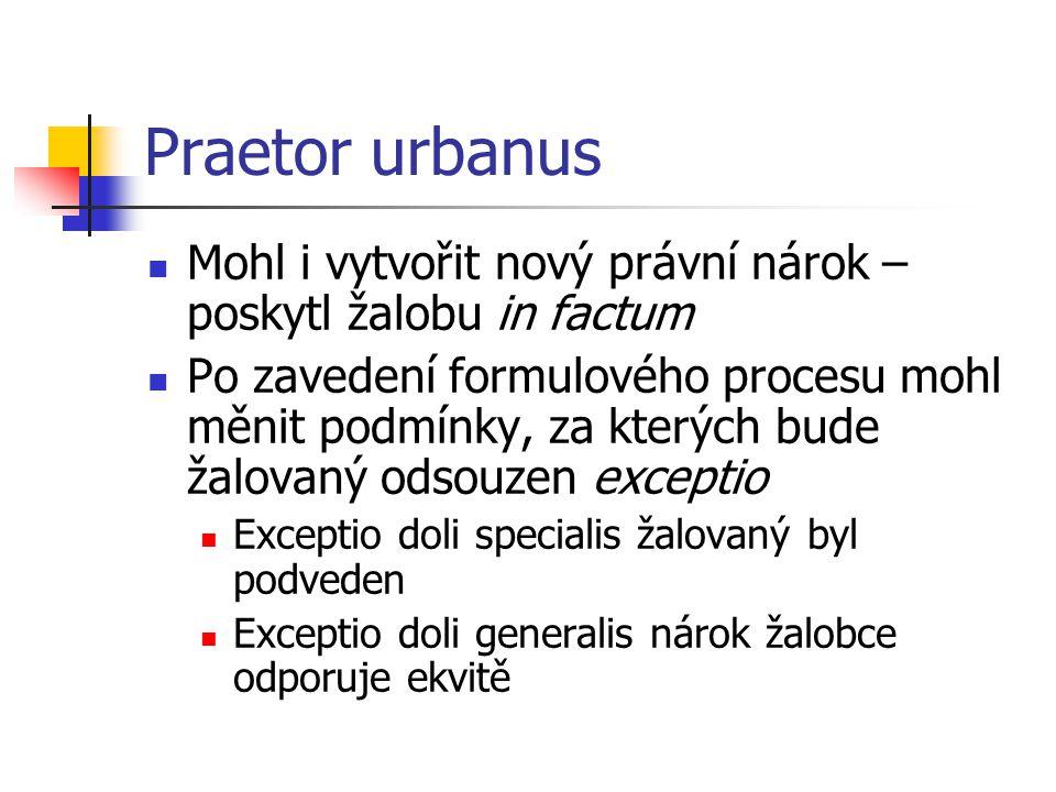 Praetor urbanus Mohl i vytvořit nový právní nárok – poskytl žalobu in factum Po zavedení formulového procesu mohl měnit podmínky, za kterých bude žalo