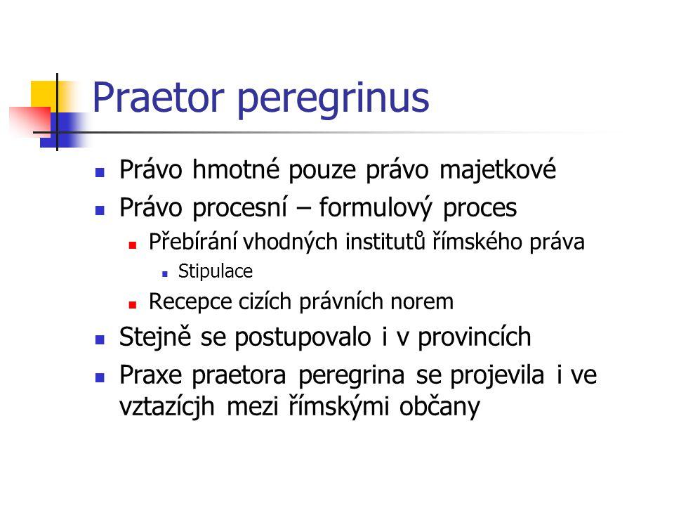 Praetor peregrinus Právo hmotné pouze právo majetkové Právo procesní – formulový proces Přebírání vhodných institutů římského práva Stipulace Recepce