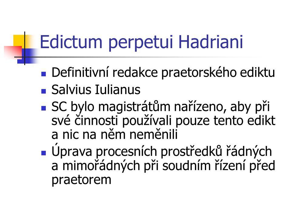Edictum perpetui Hadriani Definitivní redakce praetorského ediktu Salvius Iulianus SC bylo magistrátům nařízeno, aby při své činnosti používali pouze