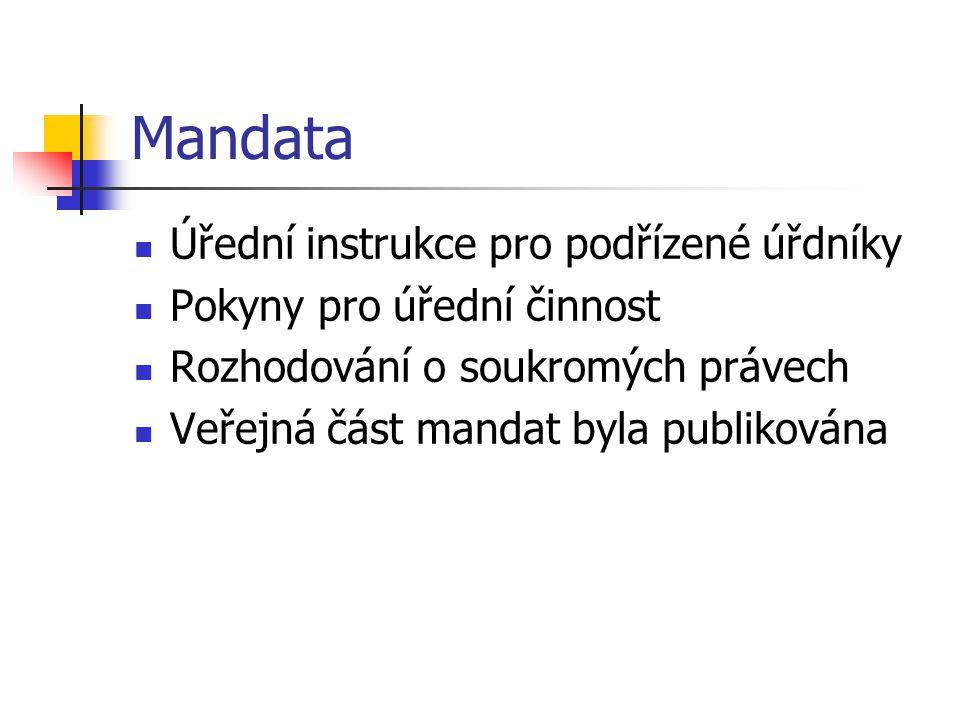 Mandata Úřední instrukce pro podřízené úřdníky Pokyny pro úřední činnost Rozhodování o soukromých právech Veřejná část mandat byla publikována