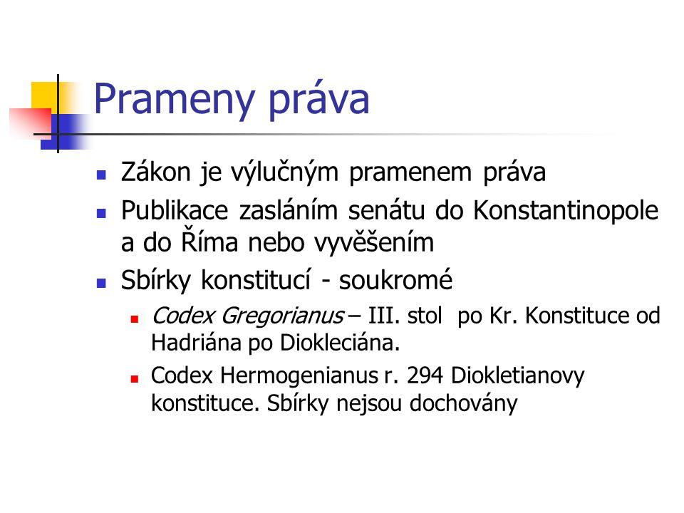 Prameny práva Zákon je výlučným pramenem práva Publikace zasláním senátu do Konstantinopole a do Říma nebo vyvěšením Sbírky konstitucí - soukromé Code