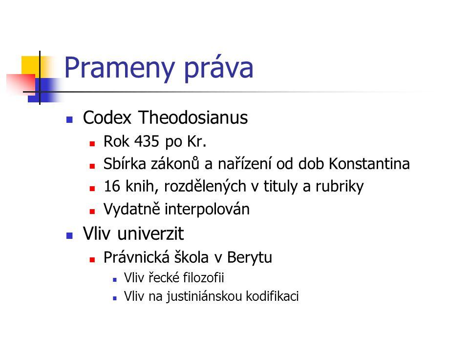 Prameny práva Codex Theodosianus Rok 435 po Kr. Sbírka zákonů a nařízení od dob Konstantina 16 knih, rozdělených v tituly a rubriky Vydatně interpolov