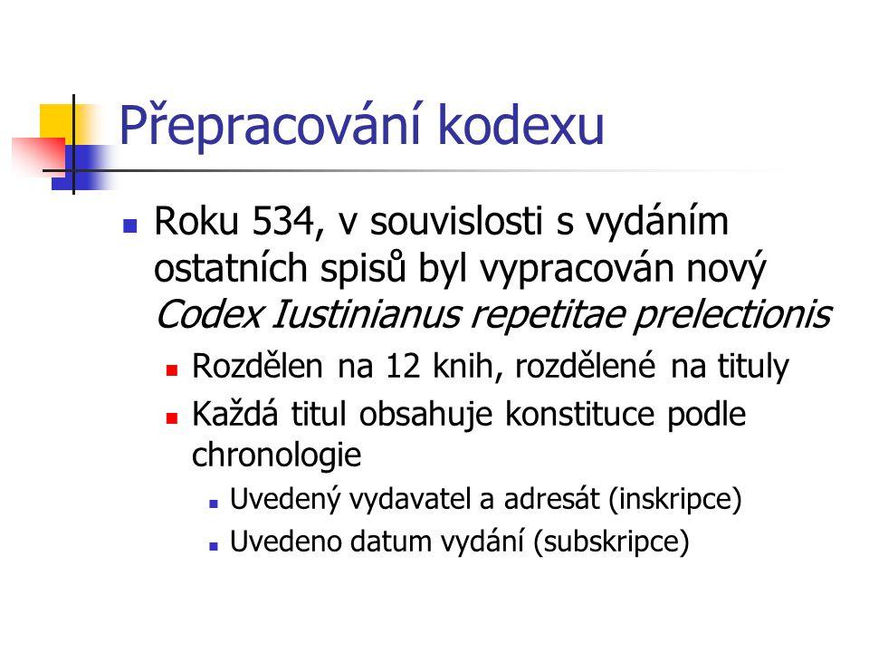 Přepracování kodexu Roku 534, v souvislosti s vydáním ostatních spisů byl vypracován nový Codex Iustinianus repetitae prelectionis Rozdělen na 12 knih