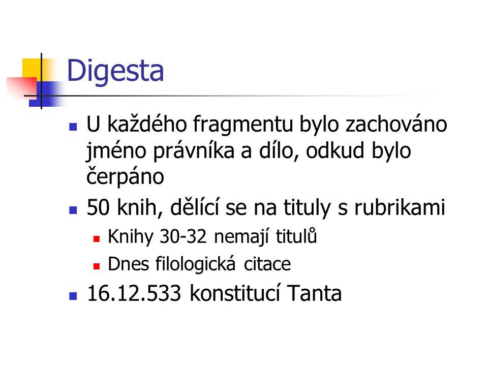 Digesta U každého fragmentu bylo zachováno jméno právníka a dílo, odkud bylo čerpáno 50 knih, dělící se na tituly s rubrikami Knihy 30-32 nemají titul