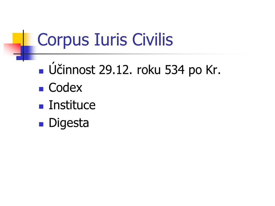 Corpus Iuris Civilis Účinnost 29.12. roku 534 po Kr. Codex Instituce Digesta