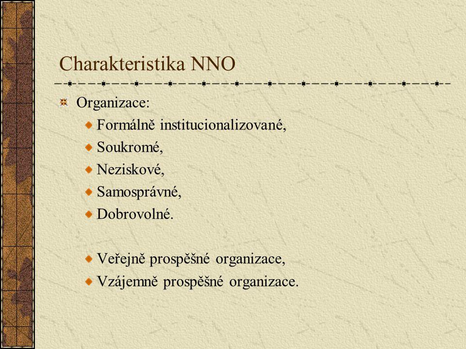 Charakteristika NNO Organizace: Formálně institucionalizované, Soukromé, Neziskové, Samosprávné, Dobrovolné. Veřejně prospěšné organizace, Vzájemně pr