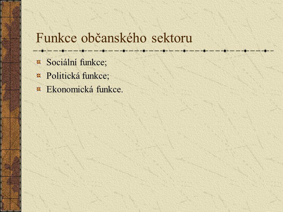 Funkce občanského sektoru Sociální funkce; Politická funkce; Ekonomická funkce.