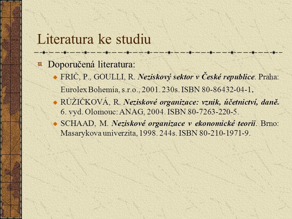 Literatura ke studiu Doporučená literatura: FRIČ, P., GOULLI, R. Neziskový sektor v České republice. Praha: Eurolex Bohemia, s.r.o., 2001. 230s. ISBN