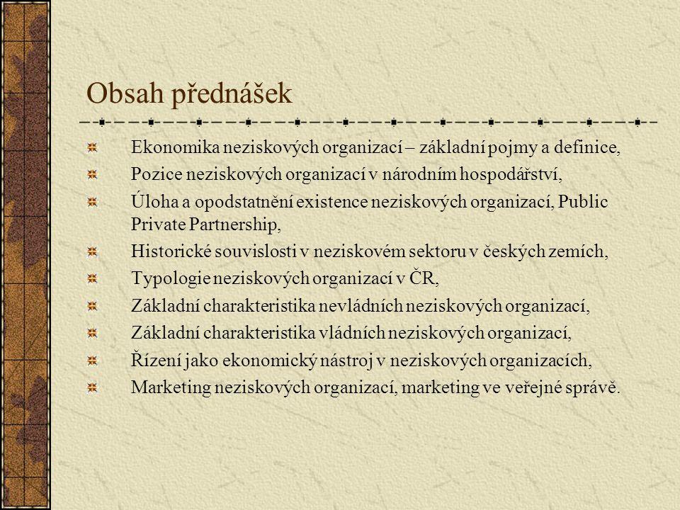 Obsah přednášek Ekonomika neziskových organizací – základní pojmy a definice, Pozice neziskových organizací v národním hospodářství, Úloha a opodstatn