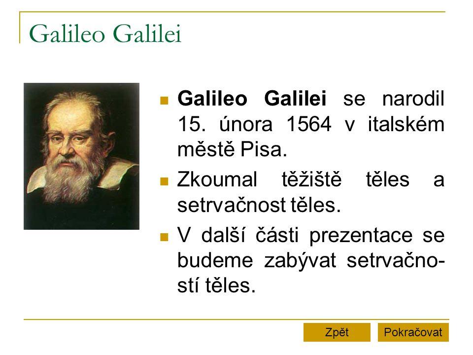 Galileo Galilei Galileo Galilei se narodil 15.února 1564 v italském městě Pisa.