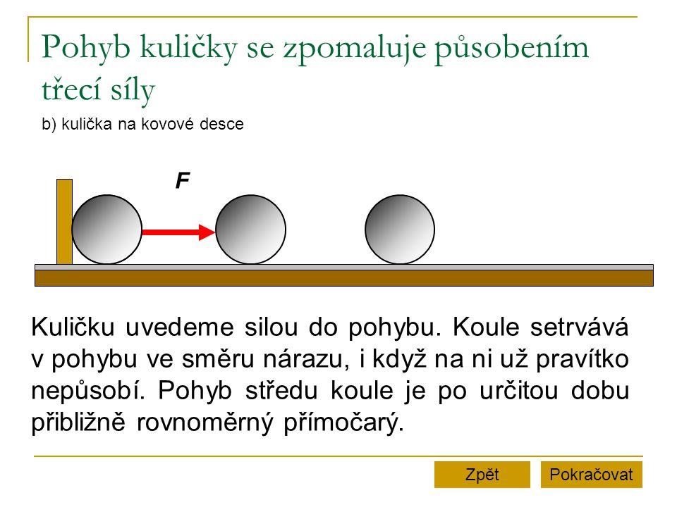 Pohyb kuličky se zpomaluje působením třecí síly PokračovatZpět b) kulička na kovové desce F Kuličku uvedeme silou do pohybu.