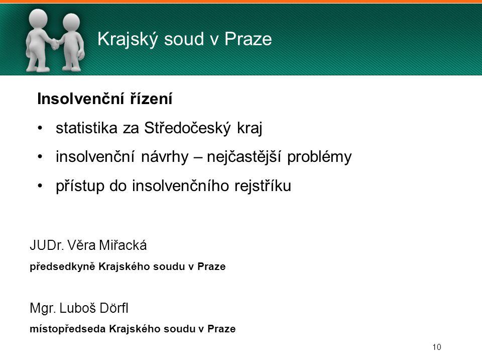 10 Krajský soud v Praze Insolvenční řízení statistika za Středočeský kraj insolvenční návrhy – nejčastější problémy přístup do insolvenčního rejstříku JUDr.