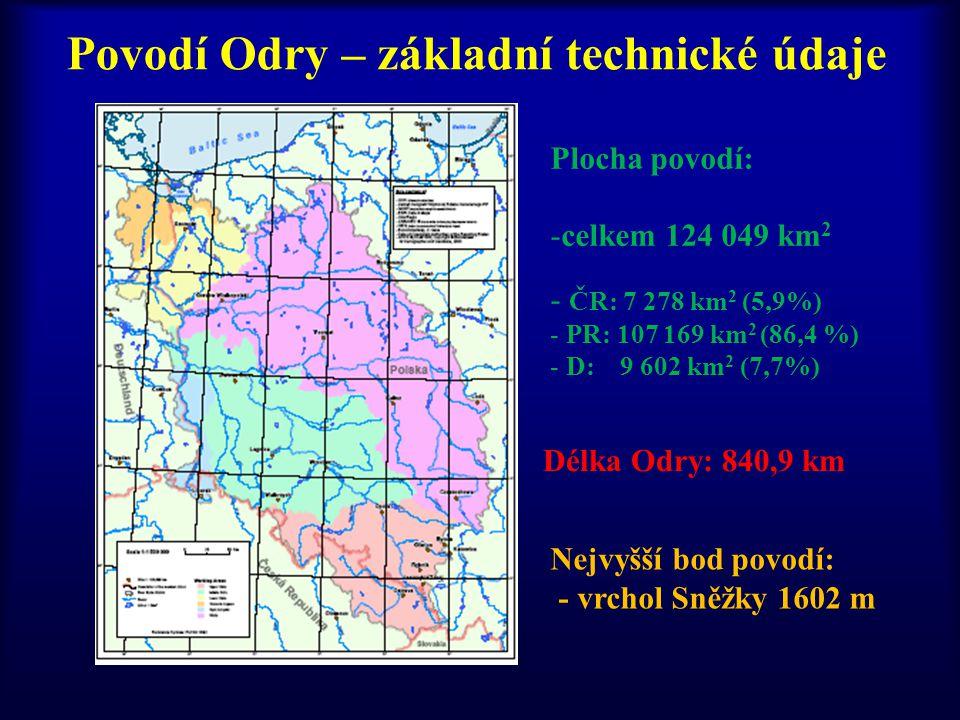 Povodí Odry – základní technické údaje Plocha povodí: -celkem 124 049 km 2 - ČR: 7 278 km 2 (5,9%) - PR: 107 169 km 2 (86,4 %) - D: 9 602 km 2 (7,7%)
