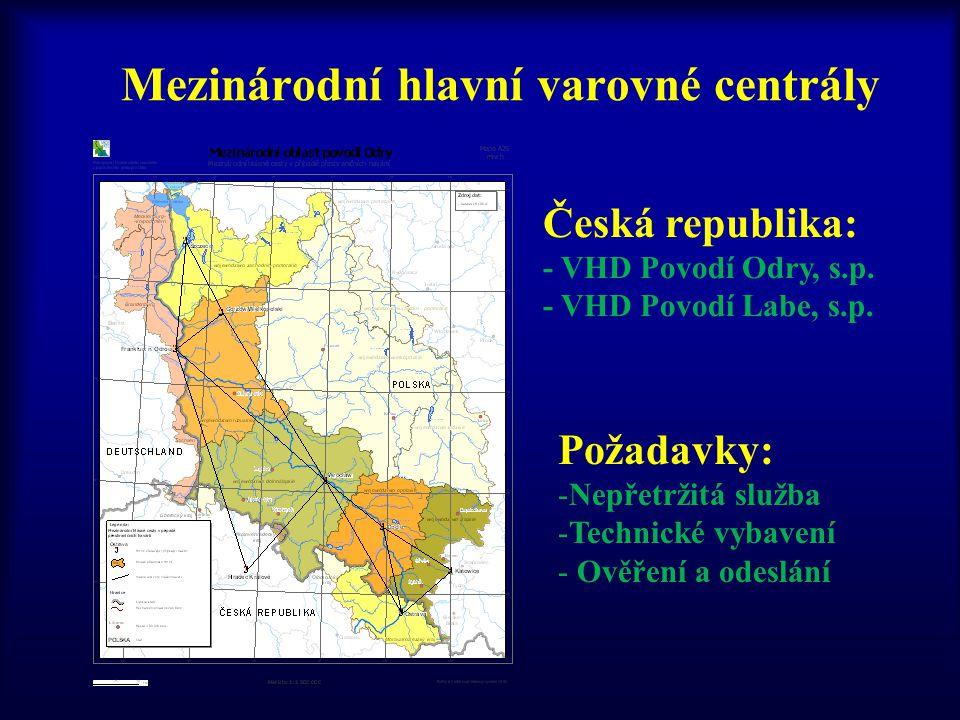 Mezinárodní hlavní varovné centrály Česká republika: - VHD Povodí Odry, s.p. - VHD Povodí Labe, s.p. Požadavky: -Nepřetržitá služba -Technické vybaven