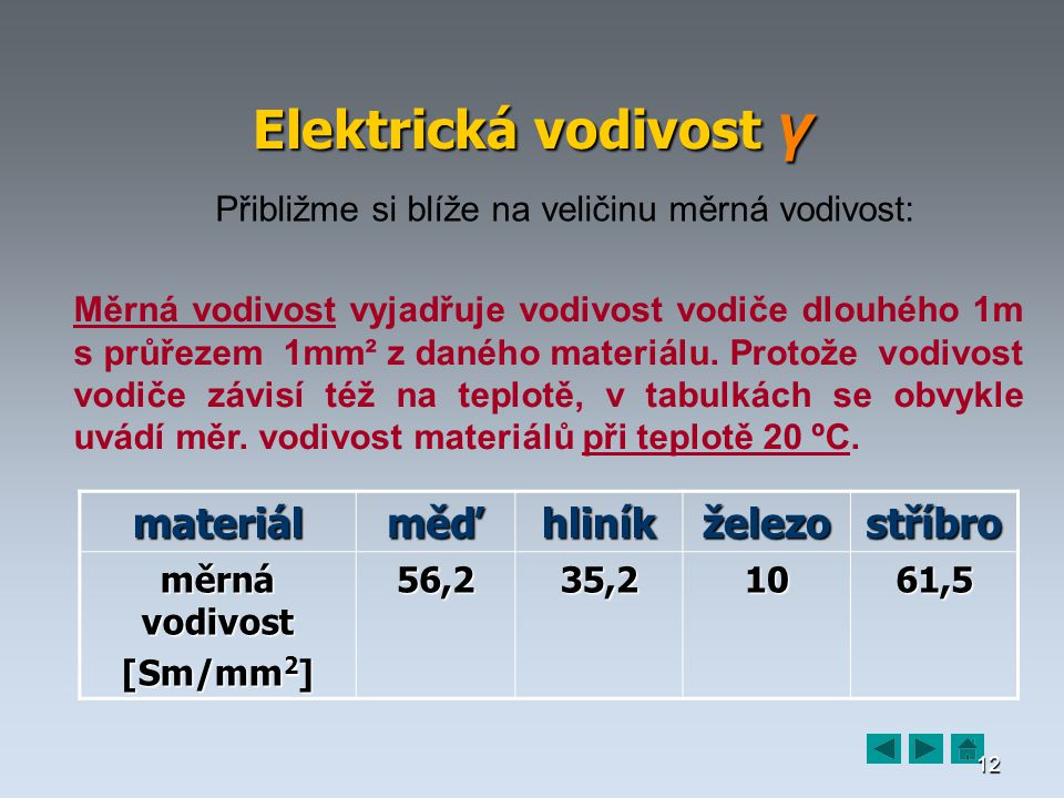 12 Elektrická vodivost γ Přibližme si blíže na veličinu měrná vodivost: Měrná vodivost vyjadřuje vodivost vodiče dlouhého 1m s průřezem 1mm² z daného