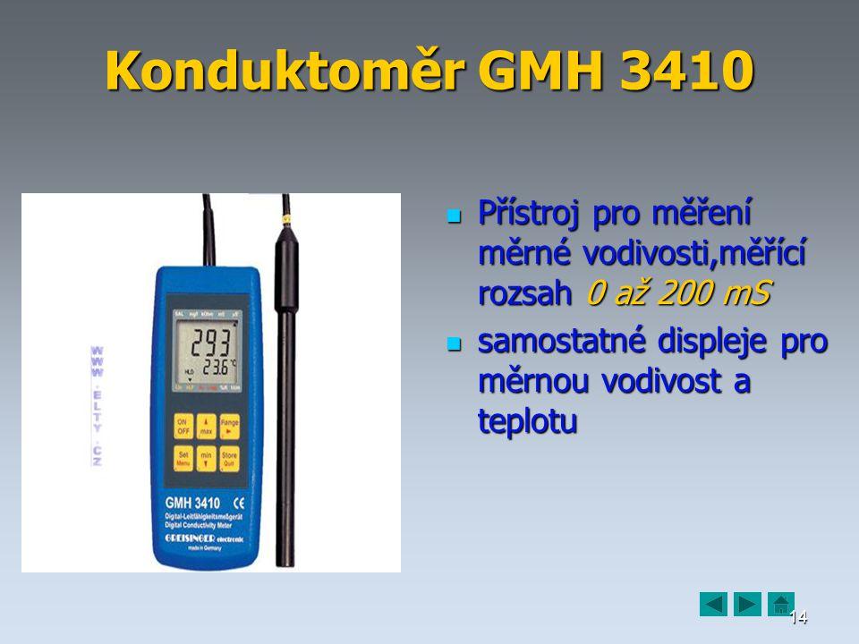 14 Konduktoměr GMH 3410 Přístroj pro měření měrné vodivosti,měřící rozsah 0 až 200 mS Přístroj pro měření měrné vodivosti,měřící rozsah 0 až 200 mS samostatné displeje pro měrnou vodivost a teplotu samostatné displeje pro měrnou vodivost a teplotu