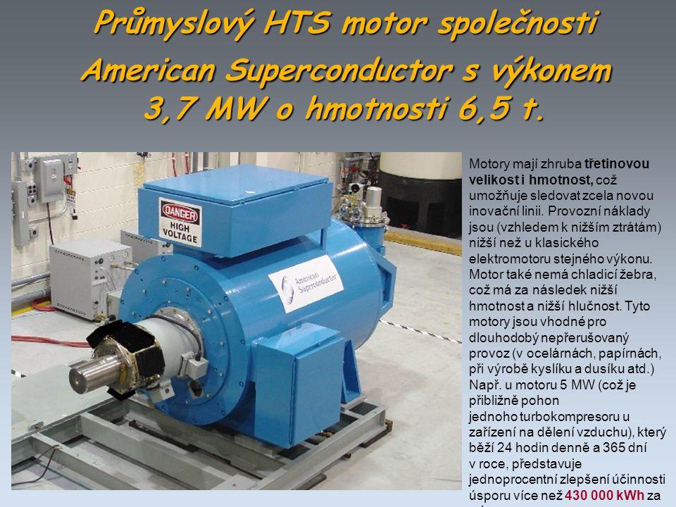 Průmyslový HTS motor společnosti AmericanSuperconductor s výkonem 3,7 MW o hmotnosti 6,5 t. Průmyslový HTS motor společnosti American Superconductor s