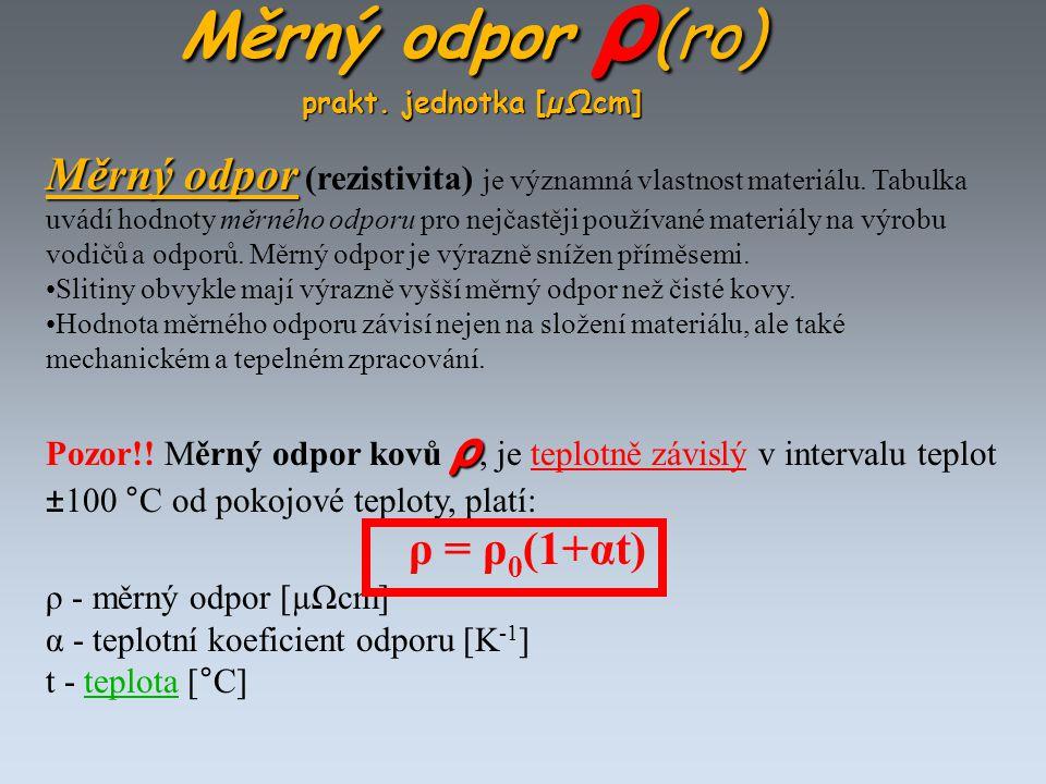Měrný odpor ρ (ro) prakt. jednotka [µΩcm] Měrný odpor Měrný odpor (rezistivita) je významná vlastnost materiálu. Tabulka uvádí hodnoty měrného odporu