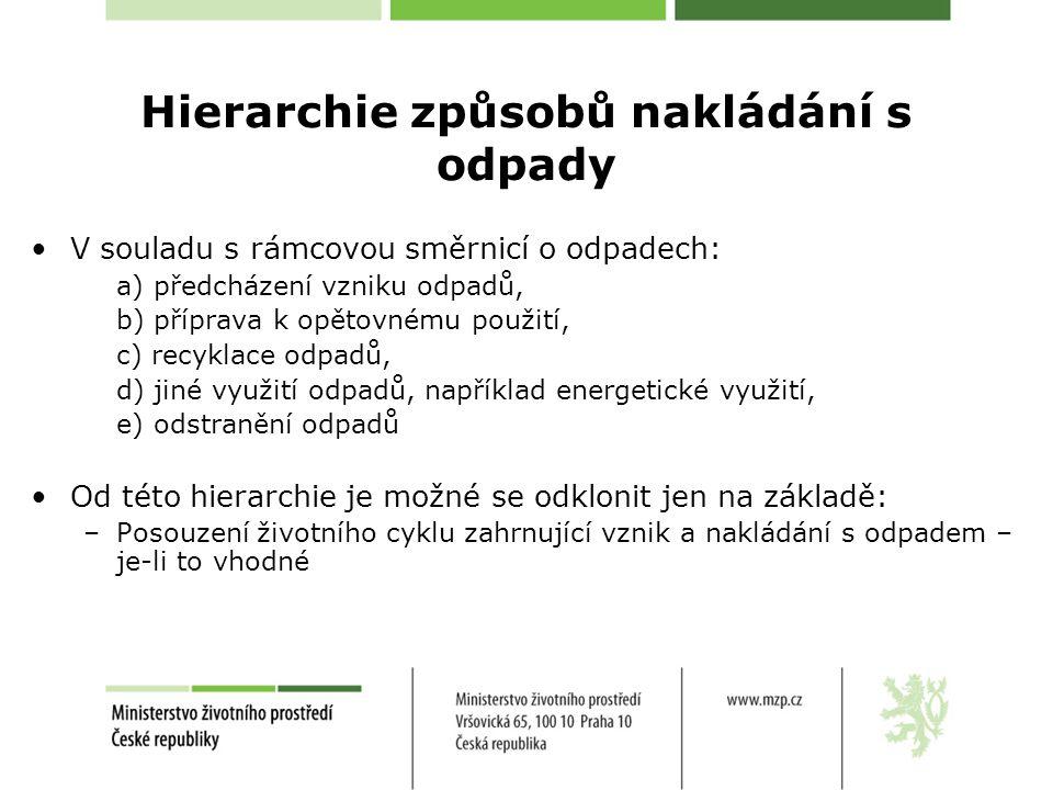 Hierarchie způsobů nakládání s odpady V souladu s rámcovou směrnicí o odpadech: a) předcházení vzniku odpadů, b) příprava k opětovnému použití, c) recyklace odpadů, d) jiné využití odpadů, například energetické využití, e) odstranění odpadů Od této hierarchie je možné se odklonit jen na základě: –Posouzení životního cyklu zahrnující vznik a nakládání s odpadem – je-li to vhodné