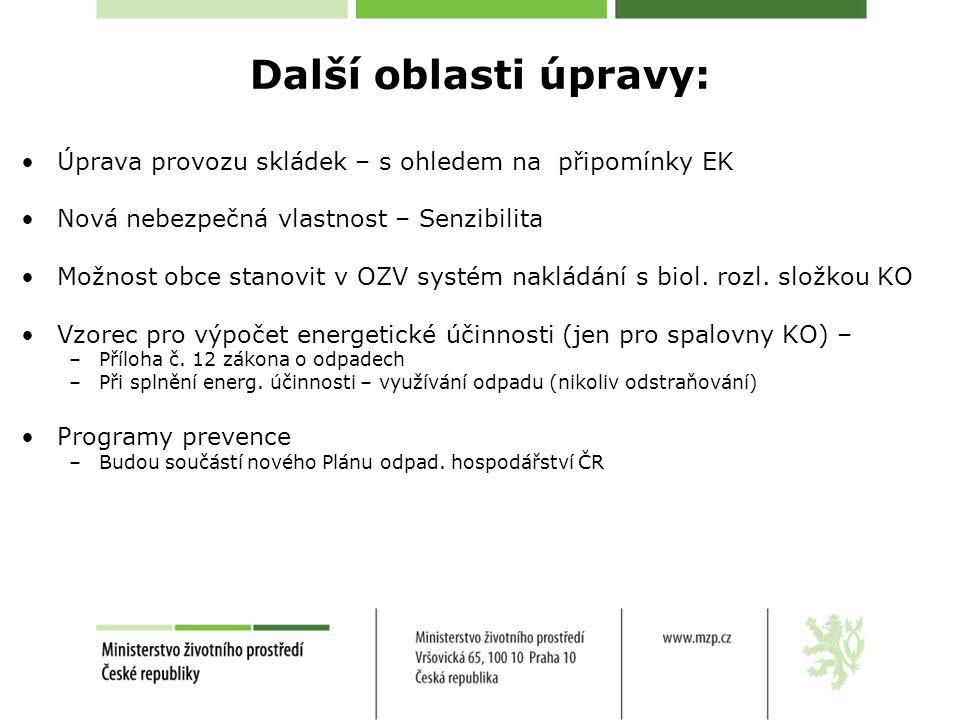 Další oblasti úpravy: Úprava provozu skládek – s ohledem na připomínky EK Nová nebezpečná vlastnost – Senzibilita Možnost obce stanovit v OZV systém nakládání s biol.