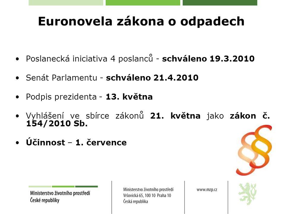 Euronovela zákona o odpadech Poslanecká iniciativa 4 poslanců - schváleno 19.3.2010 Senát Parlamentu - schváleno 21.4.2010 Podpis prezidenta - 13.