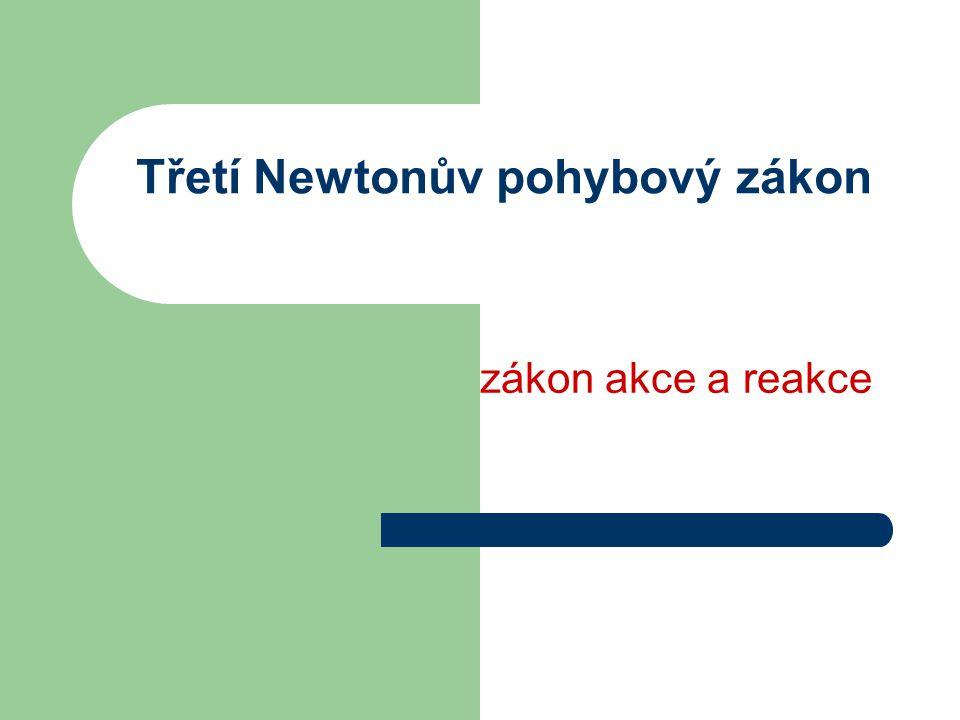 Třetí Newtonův pohybový zákon zákon akce a reakce